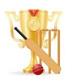 Иллюстрация вектора золотого запаса победителя чашки сверчка Стоковая Фотография