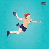 Иллюстрация вектора игрока гандбола Стоковое Изображение