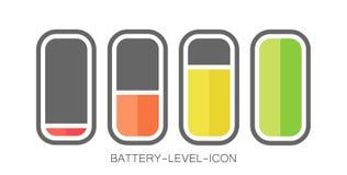 Иллюстрация вектора дизайна значка батареи ровная стоковые изображения