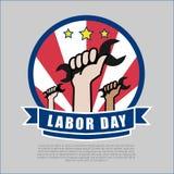 Иллюстрация вектора дизайна логотипа Дня Трудаа Стоковое Изображение