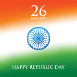 Иллюстрация вектора дизайна поздравительной открытки дня республики Индии 26-ое января Стоковые Изображения