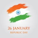 Иллюстрация вектора дизайна поздравительной открытки дня республики Индии 26-ое января Стоковые Фото