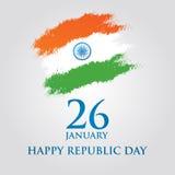 Иллюстрация вектора дизайна поздравительной открытки дня республики Индии 26-ое января Стоковое Фото