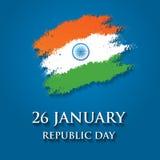 Иллюстрация вектора дизайна поздравительной открытки дня республики Индии 26-ое января Стоковое Изображение RF