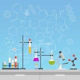 Иллюстрация вектора дизайна стиля науки и техники химической лаборатории плоская Рабочее место оборудует концепцию с формулами иллюстрация вектора