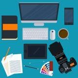 Иллюстрация вектора дизайнера рабочего места Стоковое Фото