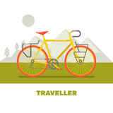 Иллюстрация вектора искусства ретро перемещения велосипеда плоская Стоковые Фото