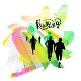 Иллюстрация вектора идущих людей Плакат для марафона стоковое фото rf