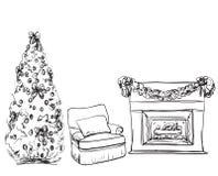 Иллюстрация вектора камина рождества нарисованная рукой Стоковое Изображение RF