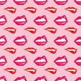 Иллюстрация вектора картины губ женщины безшовная Стоковая Фотография