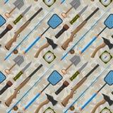 Иллюстрация вектора картины удя оборудования стиля предпосылки звероловства плоская внешняя располагаясь лагерем безшовная Стоковая Фотография RF