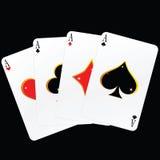 Иллюстрация вектора 4 карточек туза Стоковые Фотографии RF