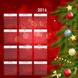 Иллюстрация вектора календаря 2016 Новых Годов Стоковое Фото