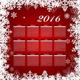 Иллюстрация вектора календаря 2016 Новых Годов Стоковые Изображения RF