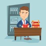 Иллюстрация вектора книги чтения студента Стоковое Изображение