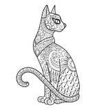 Иллюстрация вектора книжка-раскраски кота Стоковые Фото