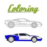 Иллюстрация вектора книжка-раскраски спорта автомобильной Стоковое Фото
