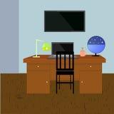 Иллюстрация вектора комнаты исследования Vector интерьер комнаты исследования с деревянным полом, монитором на стене, таблицей эк Стоковые Фотографии RF