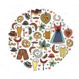 Иллюстрация вектора комплекта элементов Oktoberfest Стоковые Фото