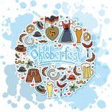 Иллюстрация вектора комплекта элементов Oktoberfest Стоковые Фотографии RF