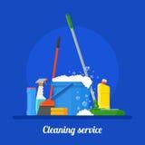 Иллюстрация вектора концепции компании уборки Дизайн плаката инструментов дома в плоском стиле иллюстрация вектора