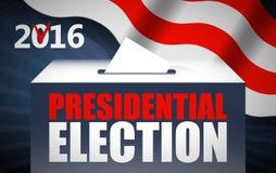 Иллюстрация вектора концепции дня президентских выборов США Кладущ бумагу голосования в урну для избирательных бюллетеней с амери Стоковые Изображения RF