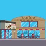 Иллюстрация вектора кофейни плоская Стоковые Фотографии RF
