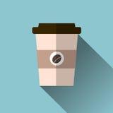 Иллюстрация вектора кофейной чашки значок на предпосылке Стоковые Изображения