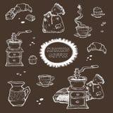 Иллюстрация вектора кофе и десерта установленная Элементы еды изолированные на темной предпосылке Точильщик, чашка, булочки, шоко Стоковое Изображение RF