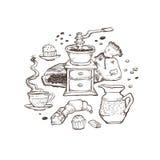 Иллюстрация вектора кофе и десерта установленная Элементы еды устроенные вокруг изолированными на белой предпосылке Точильщик, ча Стоковое фото RF