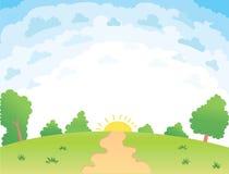 Иллюстрация вектора красивого ландшафта лета Стоковое Изображение RF