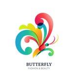 Иллюстрация вектора красочной прозрачной бабочки Стоковые Изображения