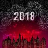 Иллюстрация вектора красочных фейерверков Счастливая тема 2018 Нового Года бесплатная иллюстрация