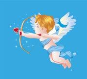 Иллюстрация вектора купидона дня валентинки на голубом Blackground Стоковые Фотографии RF