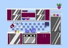 Иллюстрация вектора кухни внутренняя Стиль шаржа плоский Стоковые Изображения