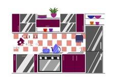Иллюстрация вектора кухни внутренняя Стиль шаржа плоский Стоковая Фотография RF