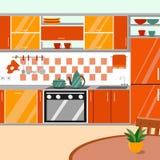 Иллюстрация вектора кухни внутренняя Стиль шаржа плоский Стоковая Фотография