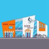 Иллюстрация вектора магазина велосипеда в плоском стиле Стоковое Изображение RF
