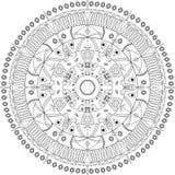 Иллюстрация вектора мандалы Круглая орнаментальная картина Стоковое Изображение