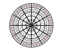 Иллюстрация вектора мандалы Круглая флористическая орнаментальная картина дизайна Стоковое Изображение