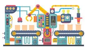 Иллюстрация вектора машины транспортера изготовления плоского цвета промышленная Производственный процесс процесса продукта дела иллюстрация штока