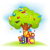 Ягнит взбираясь дерево премудрости Стоковое Изображение