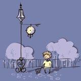 Иллюстрация вектора мальчика ждать около часов Стоковое Изображение RF