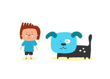 Иллюстрация вектора мальчика и собаки Стоковое Изображение RF