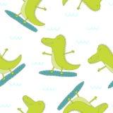 Иллюстрация вектора милого крокодила прибоя на плаву Стоковое фото RF