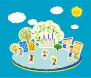 Иллюстрация вектора милых детей идя к школе Стоковые Изображения