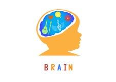 Иллюстрация вектора мозга конструирует, концепция образования думая Стоковое Изображение RF