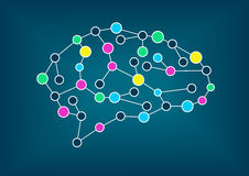 Иллюстрация вектора мозга Концепция взаимодействия, машинного обучения, искусственного интеллекта Стоковая Фотография RF