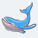 Иллюстрация вектора морской жизни синего кита Стоковые Изображения