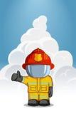 Иллюстрация вектора нарисованная рукой Изолированный пожарный характера в защитном костюме стоит и поднимает его палец вверх Дым  Стоковое Изображение